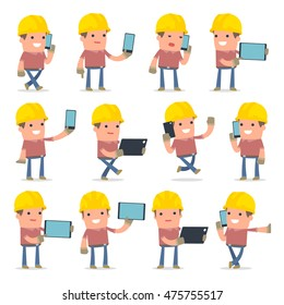 Set of Smart and Funny Character Builder holding mobile phone for using in presentations, etc.