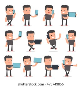 Set of Smart and Funny Character Bully holding mobile phone for using in presentations, etc.
