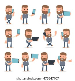 Set of Smart and Funny Character Copywriter holding mobile phone for using in presentations, etc.