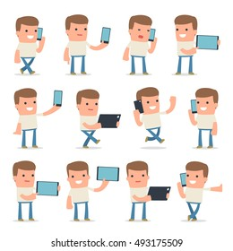 Set of Smart and Funny Character Customer holding mobile phone for using in presentations, etc.