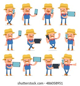Set of Smart and Funny Character Farmer holding mobile phone for using in presentations, etc.