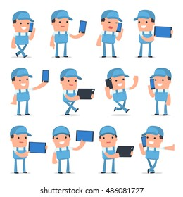Set of Smart and Funny Character Repairman holding mobile phone for using in presentations, etc.