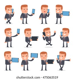 Set of Smart and Funny Character Rich man holding mobile phone for using in presentations, etc.