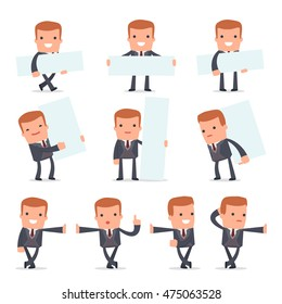 Set of Smart and Funny Character Rich man leaned against the wall and shares information for using in presentations, etc.