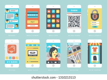 Set of smart phones with different user interface elements, flat design vector illustration