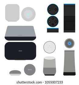 Set of smart speakers with voice control interface. User interface smart speaker vector illustration. Technology device internet of things, smart house. The concept of popular assistants.