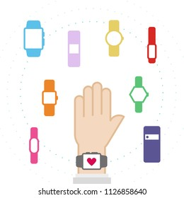 Set: smart watch icons. Hand wearing a smart watch. Vector illustration, flat design