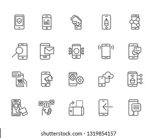 Set of smartphone function Related Vector Line Icons. Includes such Icons as communication, clock, technology, synchronization, notification, message, call, payment, social networks, sending