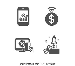 Set of Smartphone statistics, Online shopping and Contactless payment icons. Innovation sign. Mobile business, Black friday, Financial payment. Crowdfunding.  Classic design smartphone statistics icon