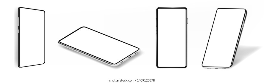 Set smartphones mockups. Vector collection mobile phones  isolated on white background. 4 positions: side, top, lying and side isometric. Mockup generic device. Vector smartphones set
