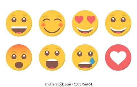 Set of smile emoji and like for social media