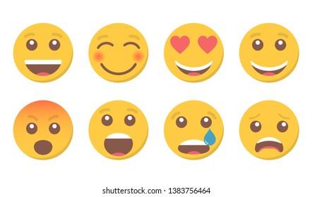 Set of smile emoji for social media