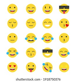 Set Of Smile Emoticons Icons.   Vector Illustration