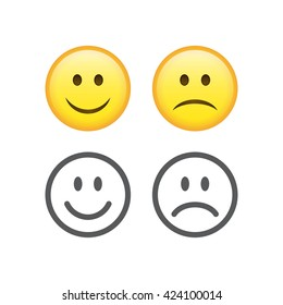 Set of smile emoticons isolated on white background. Happy and unhappy smileys. Emoji set