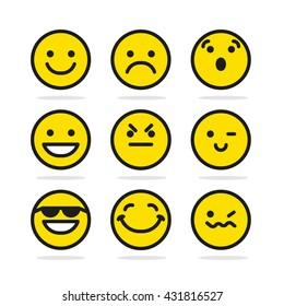 Set Of Smile Emotion Icons