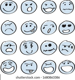 set of smile faces isolated on white background with hand drawn style. Various expressions of Smile.