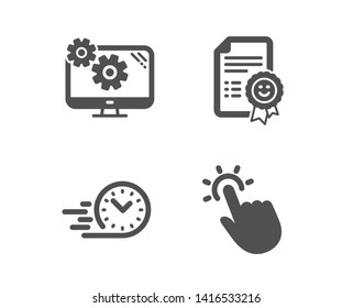 Set of Smile, Fast delivery and Settings icons. Touchpoint sign. Certificate, Stopwatch, Cogwheel tool. Touch technology.  Classic design smile icon. Flat design. Vector