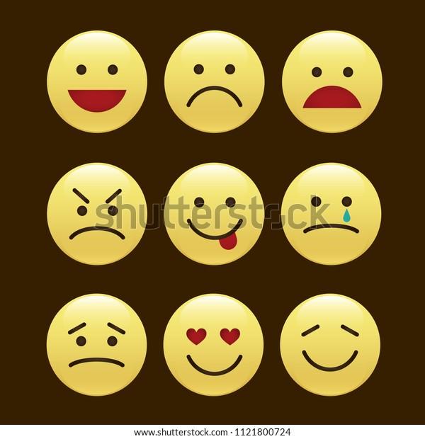 Set of smile icons. emoji. emoticons