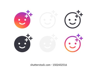 Set smile icons with pluses. Templates social media buttons filter, effect stories. Web symbols app, ui. Social media concept. Vector illustration. EPS 10