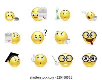 Set of smiles student life
