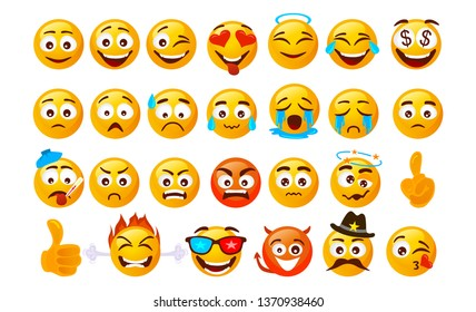 Set of smiley emoticons. Vector faces with different emotions isolated on white background. Vector smileys face