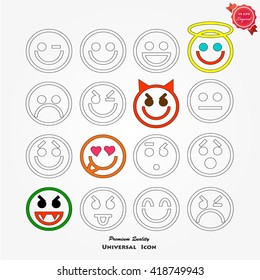 Set of smiley icons: different emotions