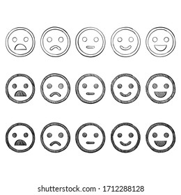 Set of smilies sketch emoticon doodles. Vector hand drawn.