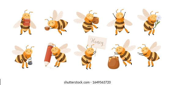 Set of smiling cute cartoon bee character isolated on white background. Collection of funny insect holding honey, book, pencil and flowers vector graphic illustration. Bundle of positive flying bug