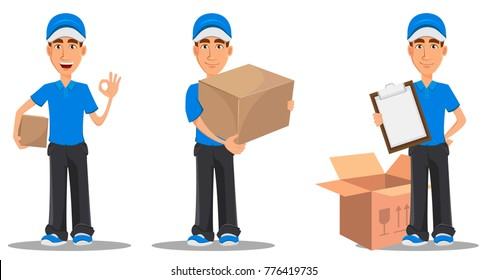 Set of smiling delivery man in blue uniform holding clipboard, holding small and big carton boxes. Vector illustration on white background.