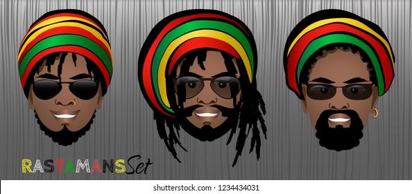 Set of smiling faces of bearded black rastaman men with dreadlocks,rasta hats and sunglasses. Vector illustration.