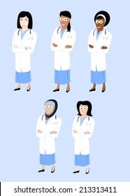 Set of smiling female doctors