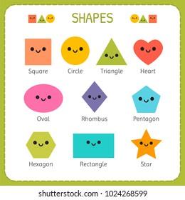 Set of smiling geometric figures. Comic cartoon characters for children education. Basic geometric shapes. Vector illustration
