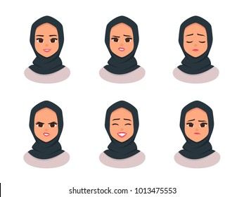 Set Smiling girl in hijab.Facial expressions Young Arabic business woman wearing hijab. Arabian Woman Face Covered with scarf. Vector illustration isolated from white background