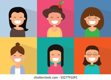 Set of smiling girls with bright colors in flat design