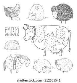 set of smiling hand drawn abstract farm animals