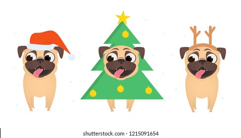 Set of smiling pugs dress up in christmas costume of Santa, xmas tree and Christmas deer. Stylish  Christmas and New year apparel collection for dog. Funny vector cartoon flat illustration.