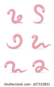 Set of smiling worms in different poses isolated on white background