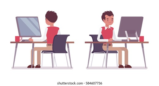 Set of smiling young male typical office worker in a business smart casual wear, sitting at office desk, working at the monoblock, looking at screen, rear and front view, isolated, white background