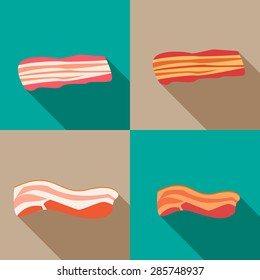Set of smoked bacon and fresh bacon in flat icon style