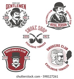 Set of  smokers club, gentlemen club labels. Design elements for logo, emblem, sign, brand mark. Vector illustration.