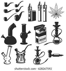 Set of smoking equipment. Bongs, vapes, smoking pipes, Hookah. Design elements for label, emblem, sign. Vector illustration