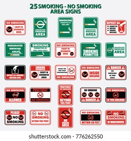 set of smoking and no smoking area for signboard or label. vector illustration