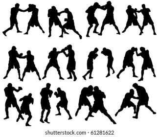Set of Smooth Different Boxing Sport Pose Men People  Silhouettes. Attack, Defend, Jogging, Evasion, Dodge. High Detail Vector Illustration.