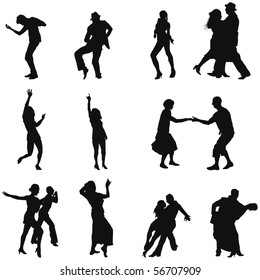 Set of Smooth Different Dancing  People  Silhouettes. Dance Alone and Couples in Different Poses. Rock, Pop, Disco, Classical.  High Detail Vector Illustration.