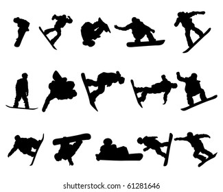 Set of Smooth Different Snowboarder  Sport Pose Men People  Silhouettes. Attack, Tricking, Flying, Jogging. High Detail Vector Illustration.