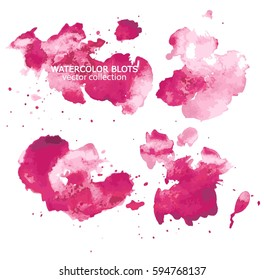 Set of smooth watercolor spots in soft pastel colors