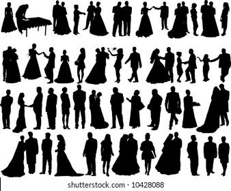 Set of  Smooth Wedding People  Silhouettes. Bride, Groom, Shaffer, Honeymoon,  Dancing, Standing, Going, Posing.  High Detail Vector Illustration.
