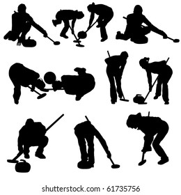Set of Smooth Winter Sport  Curling People  Silhouettes in Different Poses. Attacking, Throwing, Wiping, Sitting. High Detail Vector Illustration.