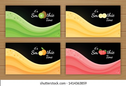 Set of smoothie logo fruit cocktail flat vector illustration. Smoothie logo on black background, wavy splash colorful smoothies cocktail or ice cream portion for fitness landing page concept.