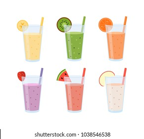 Set of smoothies in glasses with fresh fruits isolated on white background. Concept for cocktail menu bar. Vector illustration in flat design.